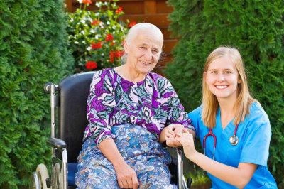 caregiver with a senior woman