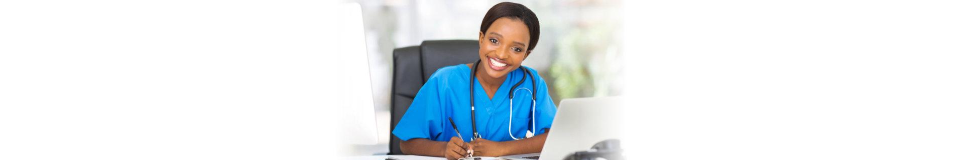 woman caregiver smiling