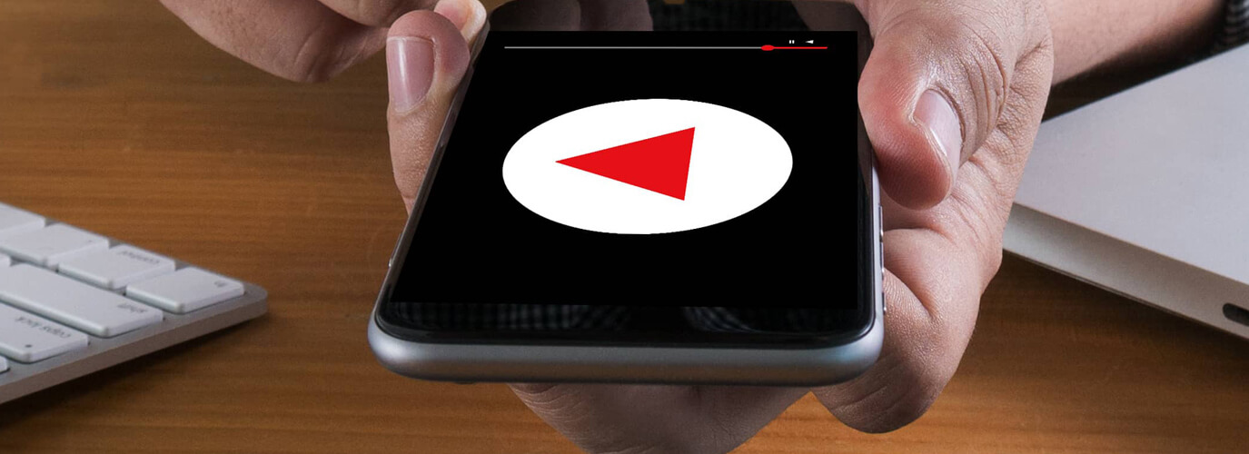 a person watching youtube on a mobile device